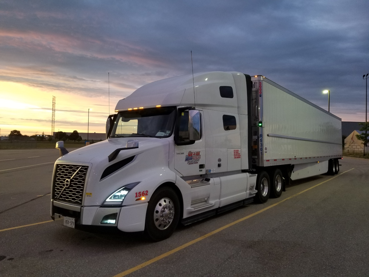 white 18 wheeler truck from Canuck Brothers Transport